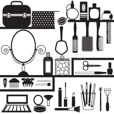 Various Beauty And Care Related Accessories Cosmetics Products Silhouettes Set