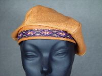 Deerskin Leather Beret with Designs