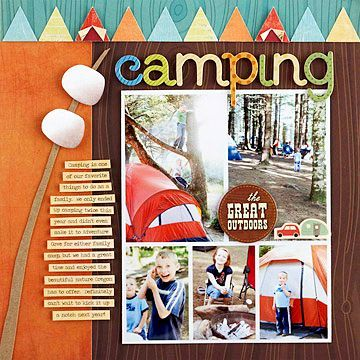 camping layout- like the tent triangles and the marshmallows.