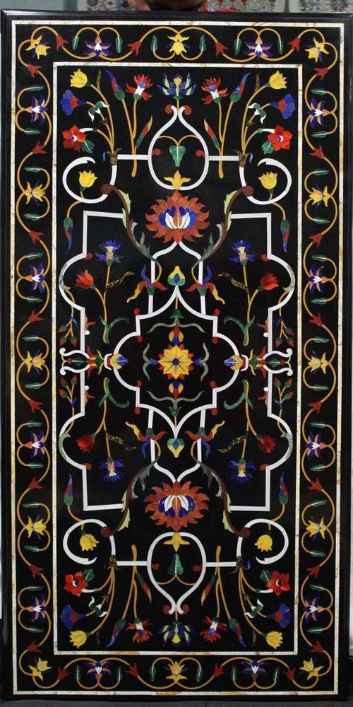 Coffee Table Pietra Dura Italian Ancient Hand Inlay Art Floral Design Home Decor #Pachikari #PietraDuraItalianStyle
