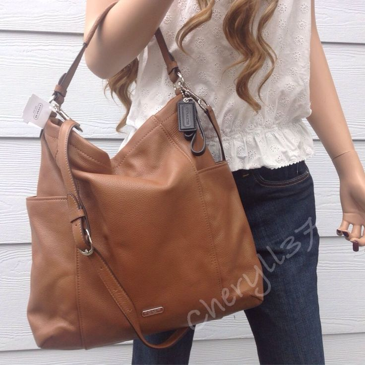 NWT COACH LARGE TAN BROWN LEATHER HOBO SHOULDER BAG CROSSBODY PURSE HANDBAG TOTE #Coach #Hobo