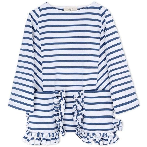 White Blue Stripe Ruffle Shirt ❤ liked on Polyvore featuring tops, blue and white stripe shirt, blue and white top, blue white shirt, blue white stripe shirt and blue and white striped shirt
