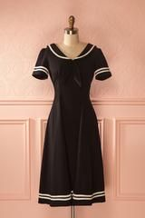 Evana - Black and white vintage inspired boat collar dress