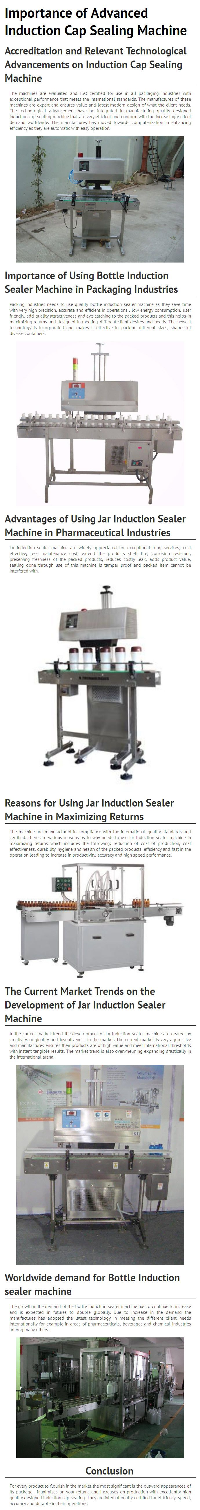 This infograph shows Importance of Advanced Induction Cap Sealing Machine. For every product to flourish in the market the most significant is the outward appearances of its package.  Maximizes on your returns and increases on production with excellently high quality designed induction cap sealing.  For more information on Induction Cap Sealing Machine, Visit - http://www.multipackmachinery.com/induction-cap-sealing-machine-multipack-2000/