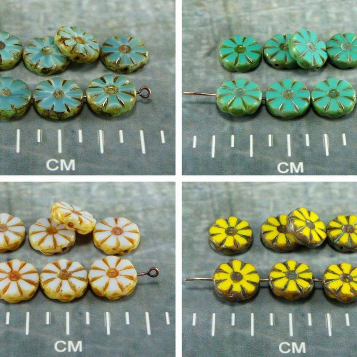 Picasso Table Cut Flower Flat Coin Czech Glass Beads 12mm 8pcs