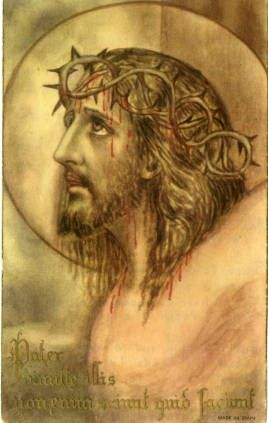 Jesus wearing crown of thorns holy card :: Holy Cards Collection at the University of Dayton #jesus #crownofthorns #crucifixion