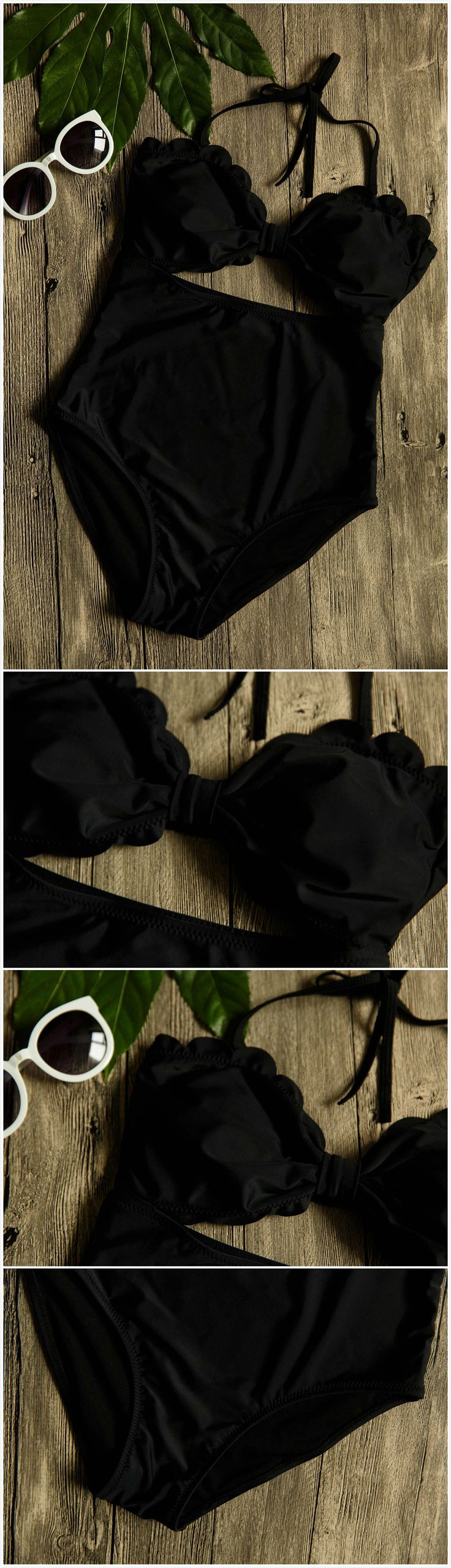 The swimwear is made from polyester and spandex with scalloped trim, bow front, cut-out back, one piece.Black fashion bikini,don't miss them at Oasap.com