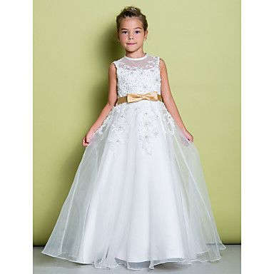 LAN+TING+BRIDE+A-line+Floor-length+Flower+Girl+Dress+-+Organza+Jewel+with+Appliques+–+USD+$+69.99