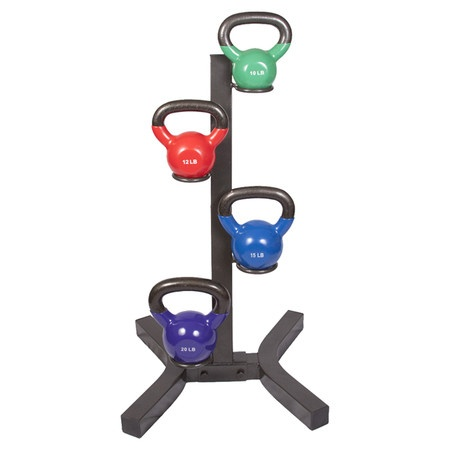5 Piece Vinyl Kettlebell Rack Set - 10 lb, 12 lb, 15 lb, 20 lb weights.  Perfect gift for crossfitters!