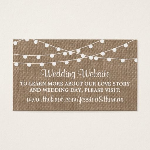290 best wedding business cards images on pinterest business card the rustic burlap string lights wedding collection business card colourmoves
