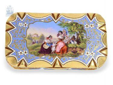 Dose: exquisite, kleine Gold/Emaille-Schnupftabakdose, vermutlich Genf um 1830
