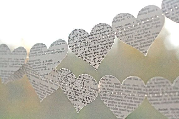 Paper wedding garland. Heart shaped garland made from vintage dictionary and brown kraft paper.