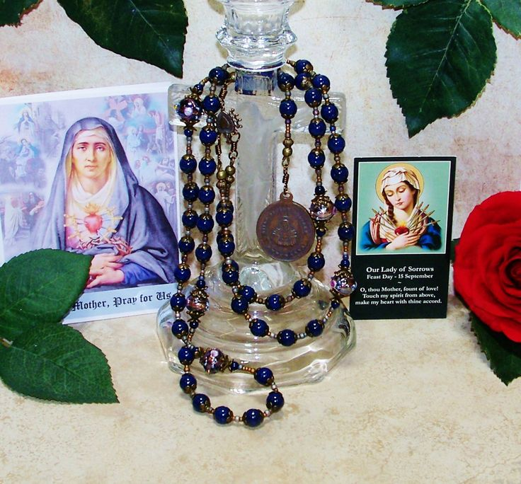 Our Lady of Seven Sorrows Catholic Chaplet  from the Special Edition Handcrafted Art Chaplets & Prayer Beads Series - 7 Sorrows of Mary by foodforthesoul on Etsy