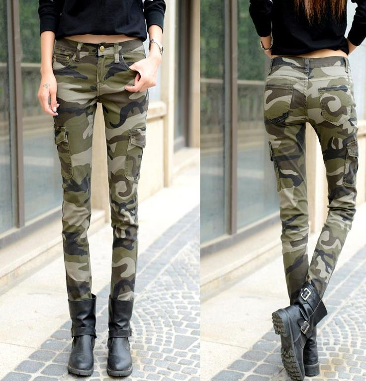 new fashion skinny jeans woman long pencil Camouflage pants casual pants trousers plu size #Affiliate