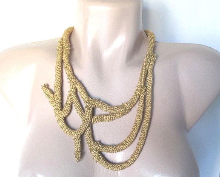 Crocheted necklace,Statement Necklace,alternative jewelry- Crochet Tube…