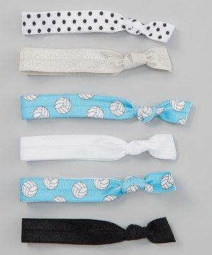 Another great find on #zulily! White  Blue Volleyball Hair Tie Set by Sweet Ties Hair Ties  Headbands #zulilyfinds