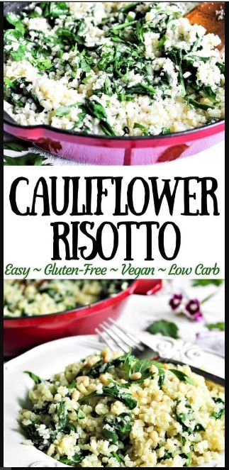 Vegan Cauliflower Risotto With Spinach