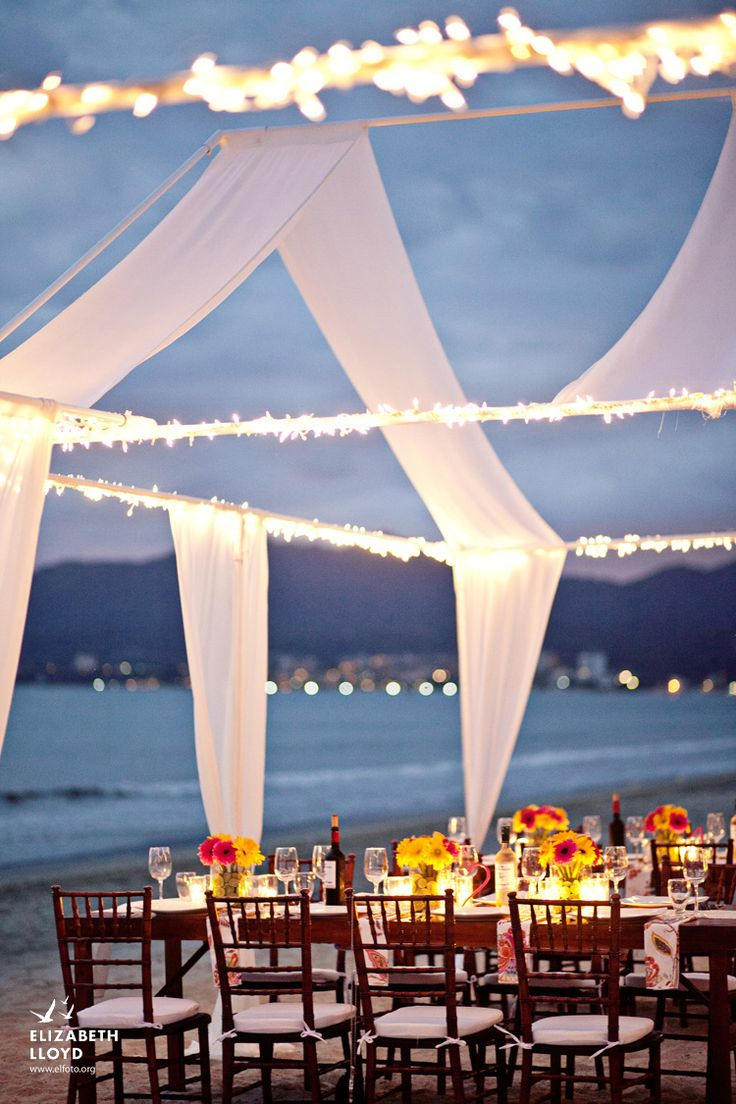Now thats a tent, may not work if there is rain but shore is eye catching with the lights and fabric. Perfect for beach wedding receptions.