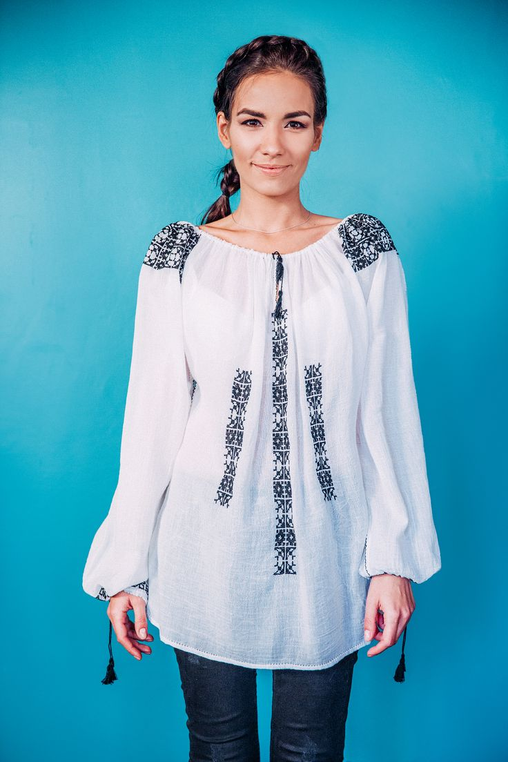 100% handmade Romanian blouse, embroidered on the sleeves and front  with black thread.  Price: 450 lei (100 EUR) Details on:  facebook.com/singularRO singularwear@yahoo.com #singular #readytowear #romanianblouse #embroidery #boho