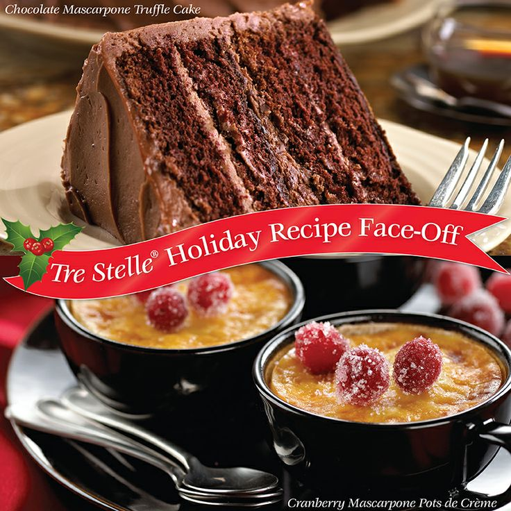 It's time for the second round of Holiday Recipe Face-Off!  Vote for your favourite Mascarpone recipe for a chance to win $25 in Tre Stelle grocery vouchers!