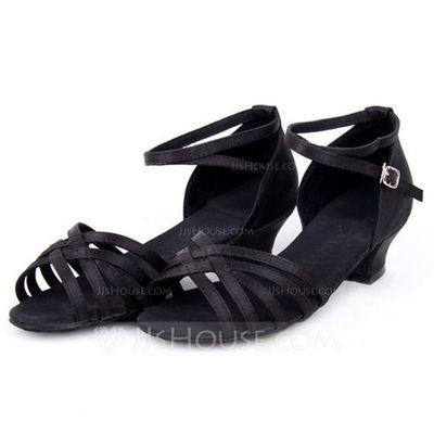 Women's Kids' Satin Heels Sandals Latin With Ankle Strap Dance Shoes (053065750)