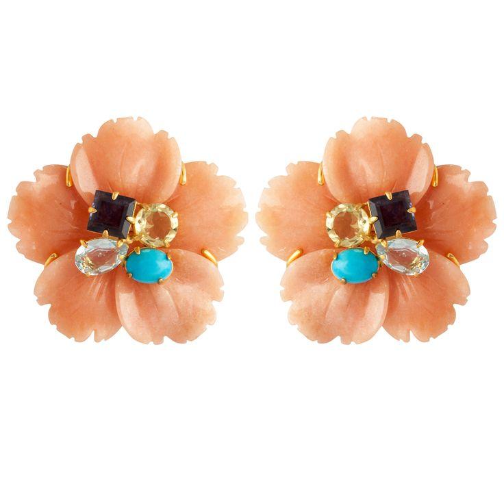 68 Orange Calcite, Turquoise, Lemon Quartz & Amethyst Flower Ear Clips - Bounkit Jewelry