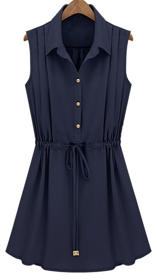 OMG!  Love, love, love!  Navy Sleeveless Drawstring Waist Pleated Chiffon Shirt Dress