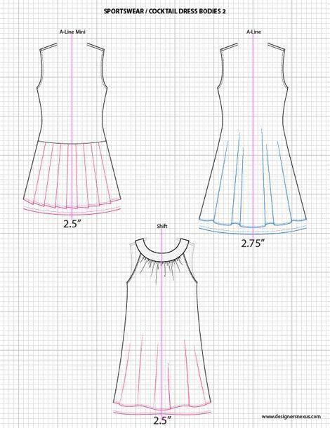 Fashion Sketch Templates - Adobe Illustrator sketches - dresses