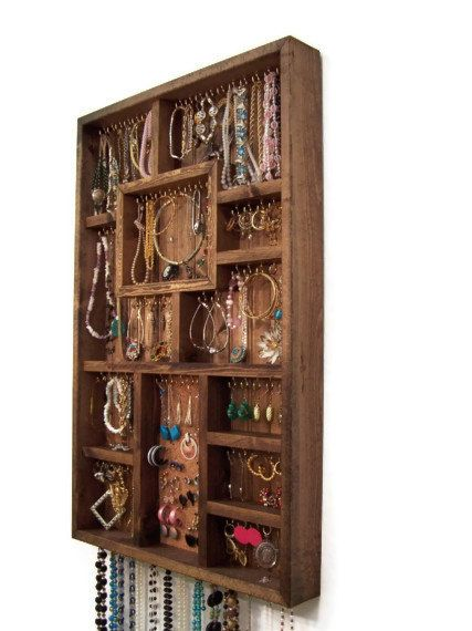 Large Jewelry Organizer, Earring and Necklace Display Handmade Wood Wall Art