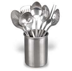 "Eight-Piece Kitchen Utensil Set - $20    Here's the perfect gift for the cook in your life. 18/10 stainless steel utensils come in an attractive holder measuring 6 1/2"" high and 5 1/2"" in diameter. Holder includes: slotted turner, slotted spoon, perforated spoon, serving spoon, skimmer, ladle and fork."
