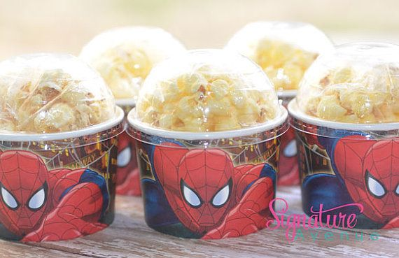 Spiderman Birthday Party-Snack Cups-Mini Popcorn Box-Set of 8 on Etsy, $10.40