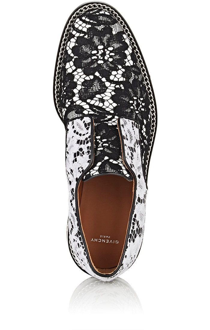 Back See all Images Givenchy Chain-Embellished Leather & Lace Oxfords | Barneys New York