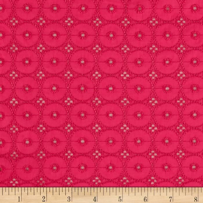 Telio Cassie Eyelet Fuchsia from @fabricdotcom  This cotton eyelet features scallops on each selvedge edge. Great for blouses, dresses, fuller skirts and even home décor.