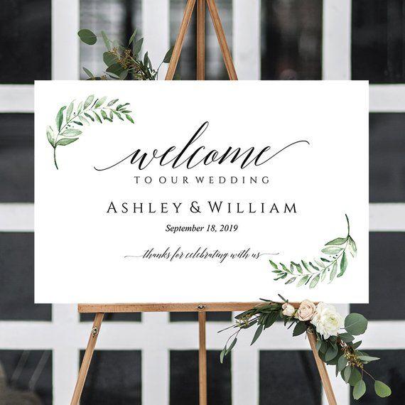 Welcome Wedding Sign Template Wedding Welcome Sign Template Wedding Greenery Decor Welcome Sign Template Greenery Wedding Decor