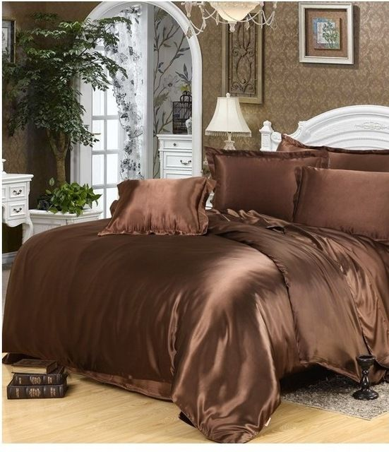 Luxury Silk bedding set brown satin california king size queen doona quilt duvet cover fitted bed sheets double bedspreads 5pcs