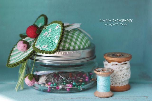 strawberry mason jar pin cushion | Flickr - Photo Sharing!