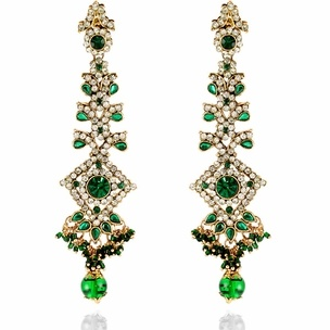 Christina Earrings http://blossomboxjewelry.com/e1316.html #jewelry #indian #fashion #bollywood #designer #earrings #emerald #green #gems