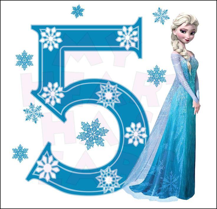 Disney's Frozen Elsa Birthday with number 5 INSTANT DOWNLOAD digital clip art :: My Heart Has Ears