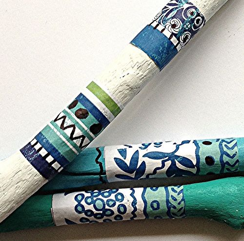 Hand Painted, Collaged Flower Sticks - Abstract Pulp