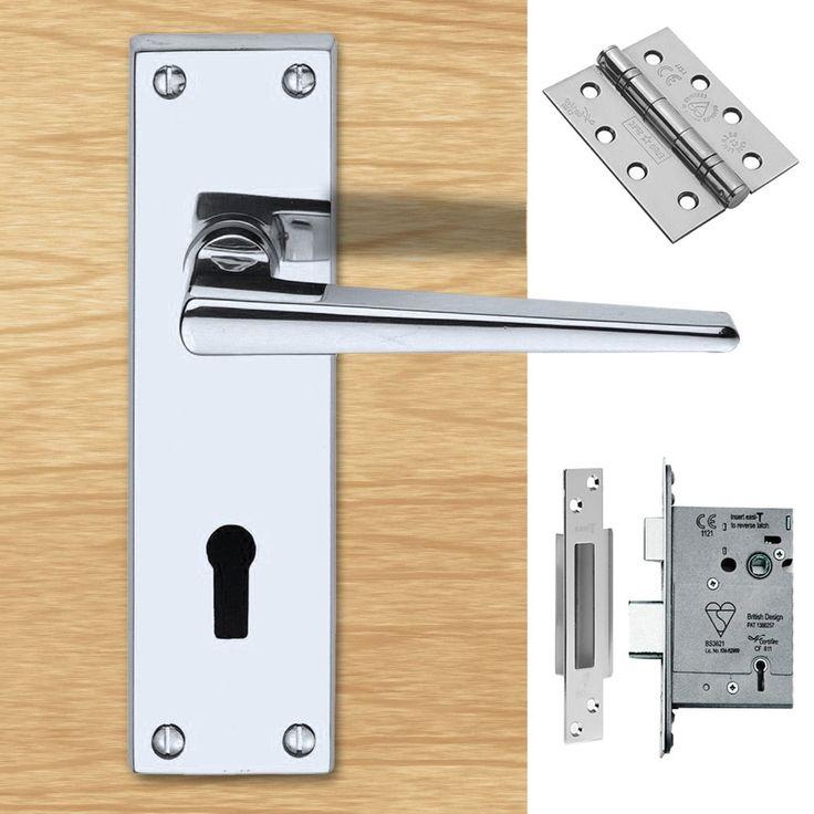 DL75 Victorian Contemporary Lever Lock Polished Chrome Handle Pack. #doorhandle&lock #lever&lock&hinges #moderndoorhandlepack