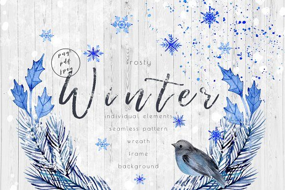 Watecolor frosty winter by IrinaUsmanova on @creativemarket