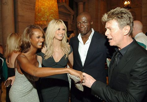 David Bowie and Iman with Heidi Klum and then husband, Seal.