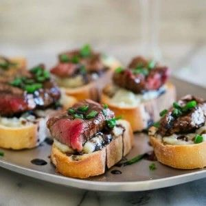 Blue Cheese Steak Crostini (if the steak is not melt in your mouth it is to difficult to eat)