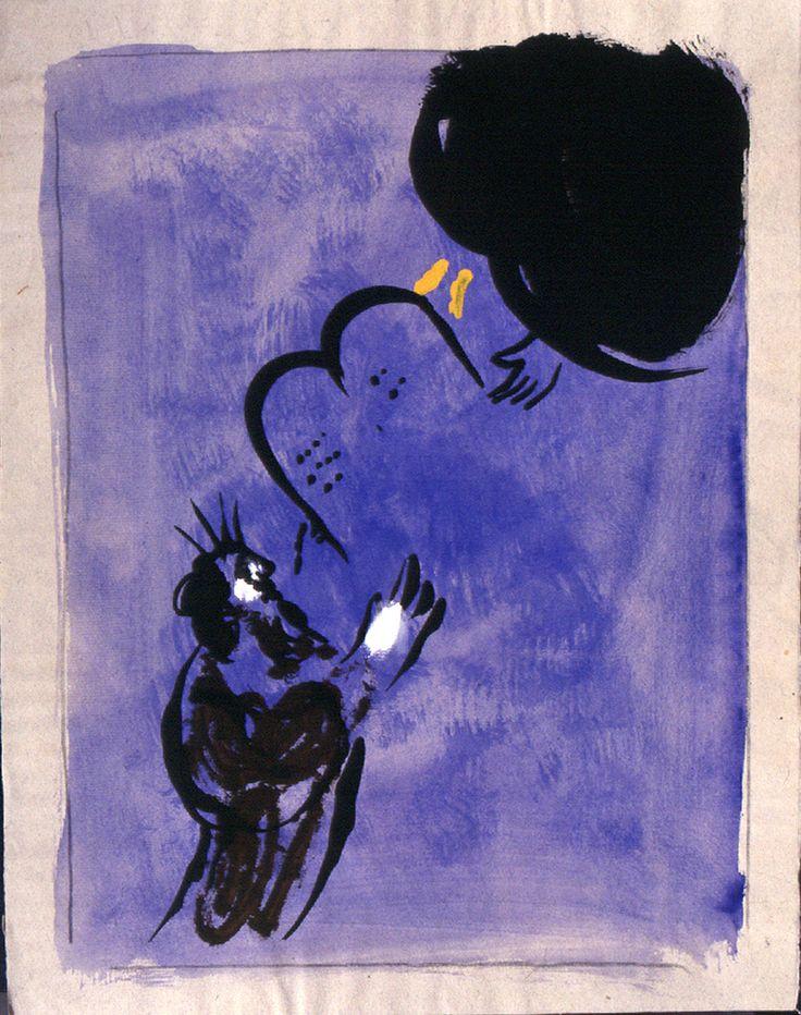 """Marc Chagall. Mosè riceve le Tavole della Legge, 1956. Disegno per l'edizione """"Verve"""" della Bibbia. India inchiostro, guazzo e acquerello su carta, cm. 40 x 312. Dono di Ida Chagall, Parigi"""