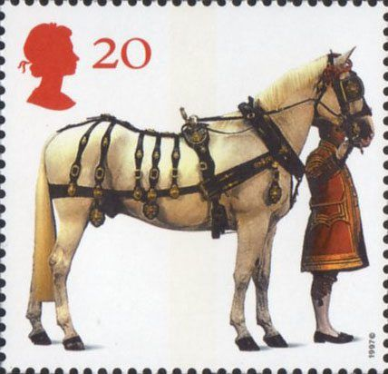 'All The Queens Horses'. 50th Anniversary of the British Horse Society 20p Stamp (1997) Carriage Horse and Coachman