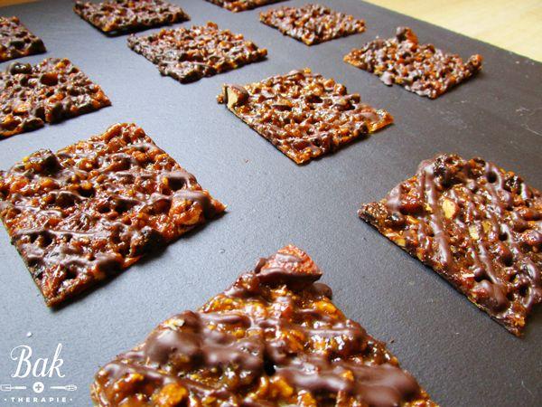 Bakblog baktherapie.nl - Recept voor het bakken van heerlijke karamel florentines met gedroogd fruit en noten.
