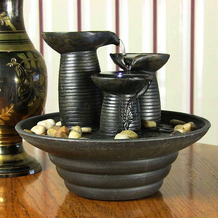 Amazing Three Pillars Pouring Table Fountain W Led Light By Sunnydaze Decor  With Diy Table Fountain