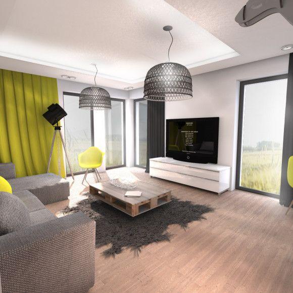 Wnętrza salonu domu Z25 - konsultacje i projekty architektoniczne MAAK - e-aranżacje.pl Nieduży salon to centrum domu, z uwagi na preferencje użytkowników do częstych zmian wystroju, zaproponowaliśmy neutralną kolorystykę ścian oraz podłogi, ożywiając wnętrze akcentami kolorystycznymi, które w razie potrzeby i ochoty można łatwo wymienić.