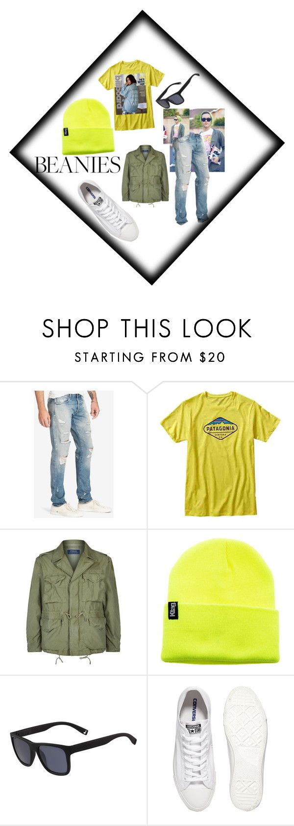 """Beanie Man"" by jsable456 ❤ liked on Polyvore featuring ADAM, Denim & Supply by Ralph Lauren, Patagonia, Polo Ralph Lauren, Lacoste and Converse"