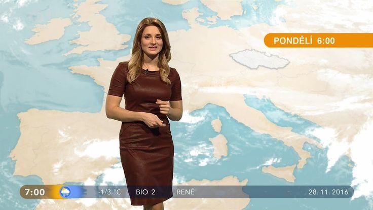 Zuzana Barilová Czech Weather Presenter Leather Dress